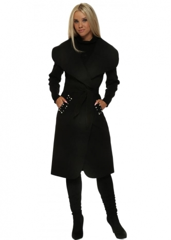 Black Duster Coat With Pearl Pockets