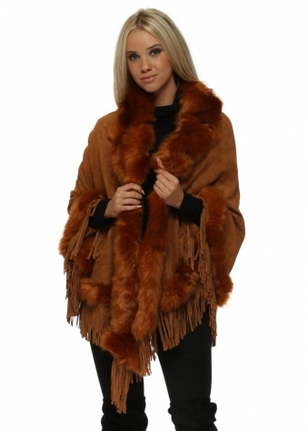 Tan Suedette Fringe Cape With Faux Fur Collar