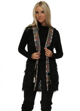 Black Sparkle Fluffy Braid Embellished Waistcoat