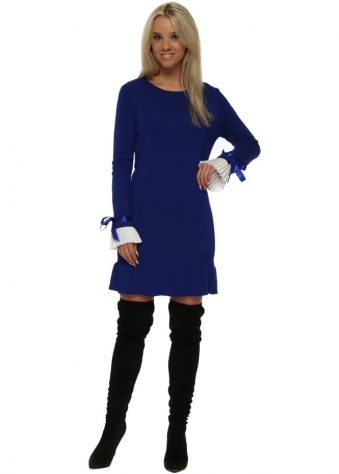 Blue Contrast Pleated Cuffs Frill Hem Jumper Dress