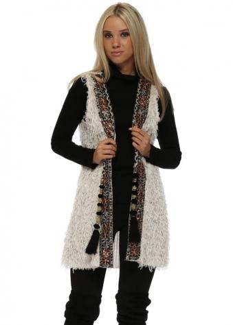 Cream Sparkle Fluffy Braid Embellished Waistcoat