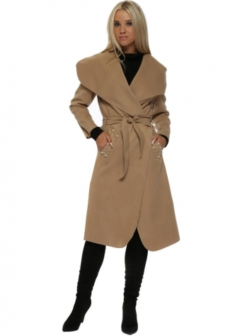 Camel Duster Coat With Pearl Pockets