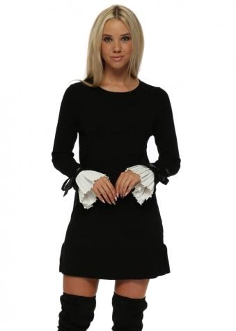 Black Contrast Pleated Cuffs Frill Hem Jumper Dress