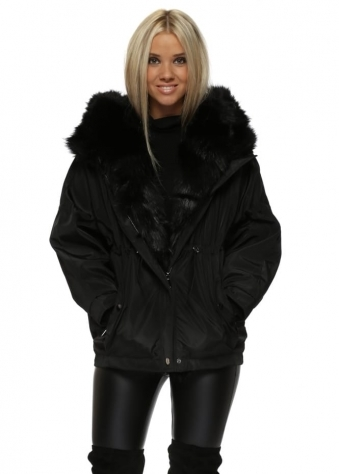 Black Hooded Puffer Jacket With Detachable Faux Fur