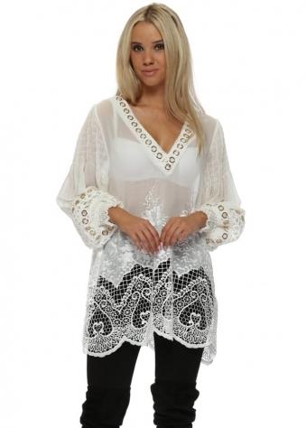 White Luxe Lace Semi Sheer Long Tunic Top