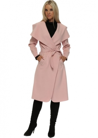 Baby Pink Duster Coat With Pearl Pockets