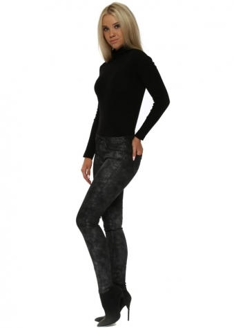 Glitter Finish Leather Look Skinny Jeans