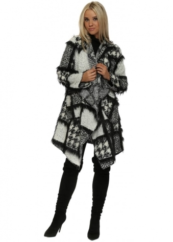 Black & White Boucle Faux Fur Waterfall Coat
