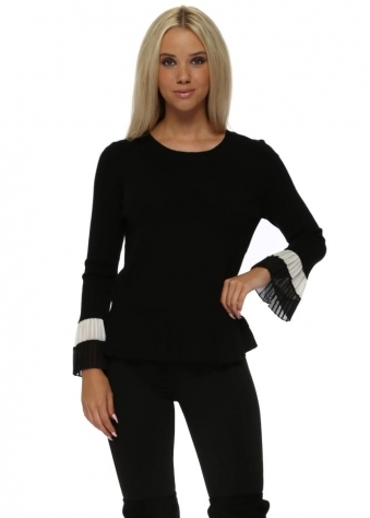 Black Two Tone Frill Cuffs Classic Jumper