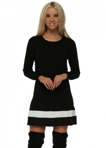Black Two Tone Frill Hem Mini Jumper Dress