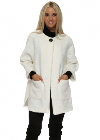 Cream Boucle Cocoon Coat