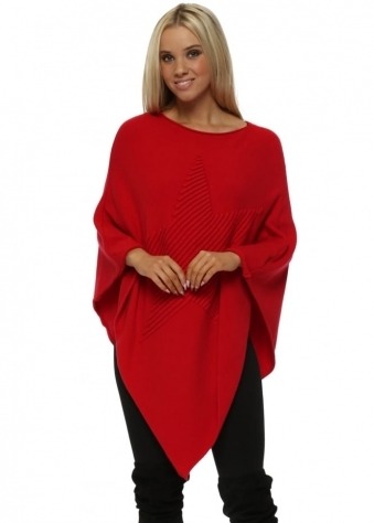 Red Knitted Embossed Star Poncho