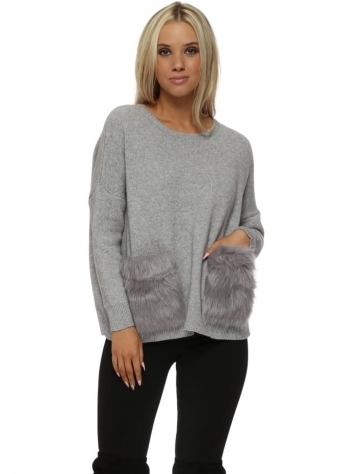 Grey Cosy Jumper With Faux Fur Pockets