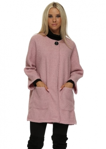 Baby Pink Boucle Cocoon Coat