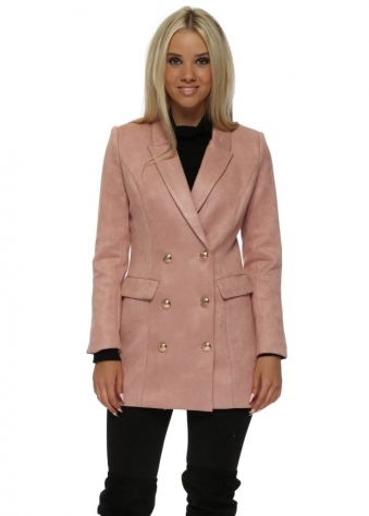 Pink Nappa Suede Gold Button Blazer