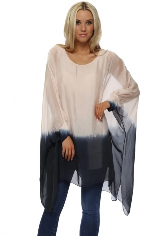 Pink & Navy Silk Dip Dye Long Oversized Top