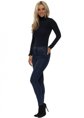 Dark Blue Stretch Fit Skinny High Waisted Jeans