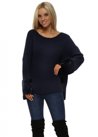 Navy Blue Chunky Knit Jumper With Faux Fur Cuffs