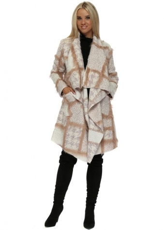 Cream & Pink Boucle Faux Fur Waterfall Coat