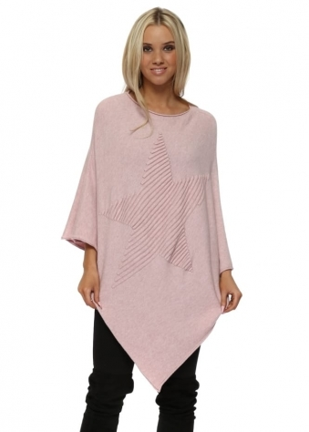 Pink Knitted Embossed Star Poncho