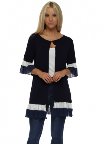 Navy Two Tone Frill Hem Cardigan