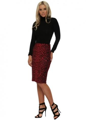 Red Leopard Print Faux Nappa Pencil Skirt