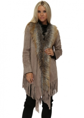 Mocha Suedette Fringe Jacket With Faux Fur Collar