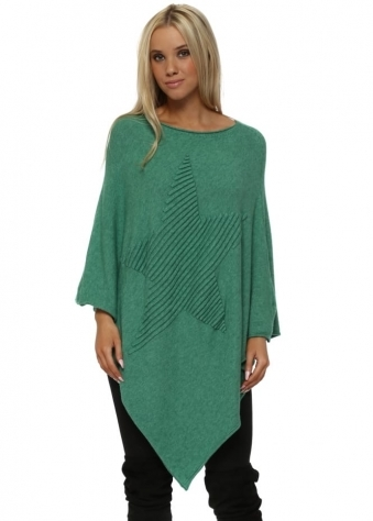 Green Knitted Embossed Star Poncho