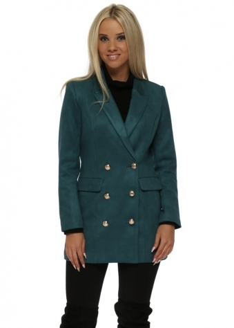 Green Nappa Suede Gold Button Blazer