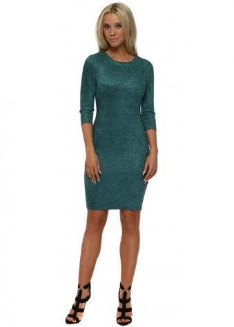 Green Star Print Faux Nappa Pencil Dress