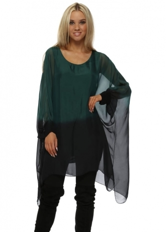 Green & Black Silk Dip Dye Long Oversized Top
