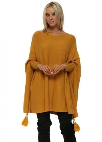 Mustard Knitted Tassel & Pearl Poncho Jumper