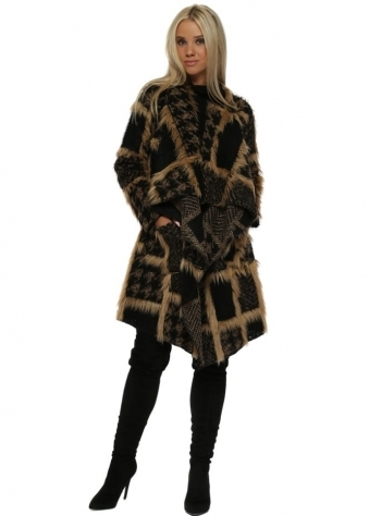 Black & Tan Boucle Faux Fur Waterfall Coat