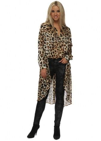 Leopard Print High Low Semi Sheer Oversized Shirt