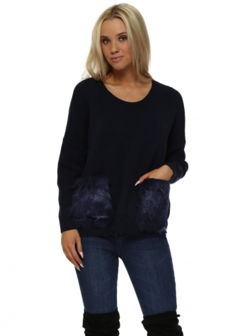 Navy Cosy Jumper With Faux Fur Pockets