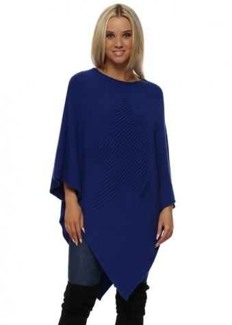 Cobalt Blue Knitted Embossed Star Poncho
