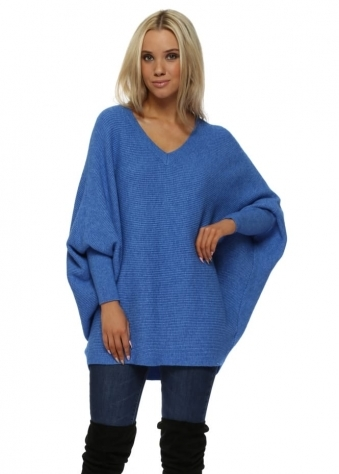 Blue Oversized V Neck Slouch Jumper