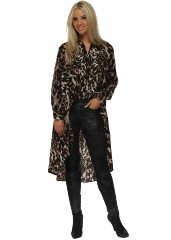 Brown Leopard Print High Low Oversized Shirt