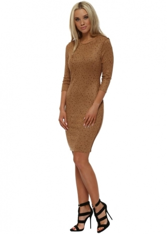 Tan Star Print Faux Nappa Pencil Dress