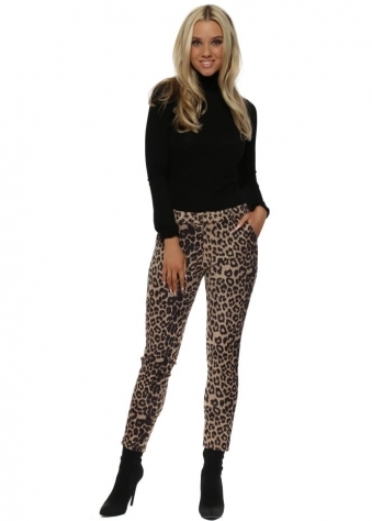 Leopard Print Faux Nappa Suede Trousers