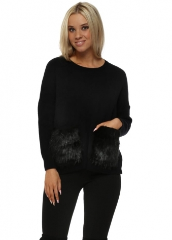Black Cosy Jumper With Faux Fur Pockets