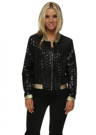 Black Sequinned Gold Braid Bomber Jacket
