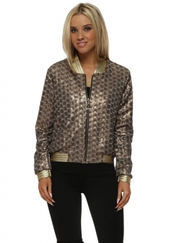 Bronze Sequinned Gold Braid Bomber Jacket