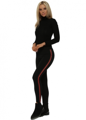 Black Italian Ribbon Stirrup Leggings