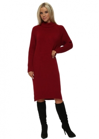 Red Polo Neck Ribbed Jumper Dress