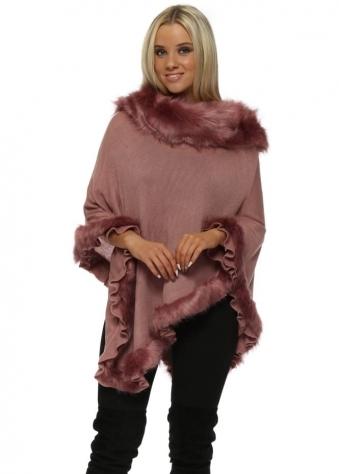 Rose Pink Faux Fur Fine Wool Polo Poncho