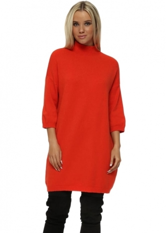 Orange Polo Neck Shift Jumper Dress