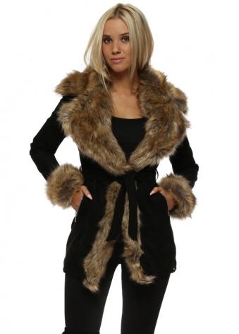 Faux Suede Coat With Oversized Brown Faux Fur Collar & Cuffs