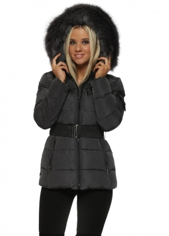 Grey Quilted Faux Fur Hooded Puffer Coat