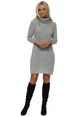 Grey Cable Knit Polo Neck Jumper Dress